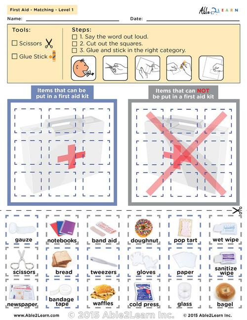 Learn all about the first aid kit, and safety, what do you find in a first aid kit sorting mat. This is a free printable worksheet.