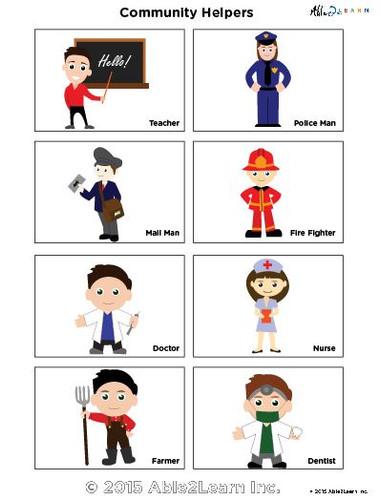 School Helpers Worksheets : Free community helper flashcards aba resources