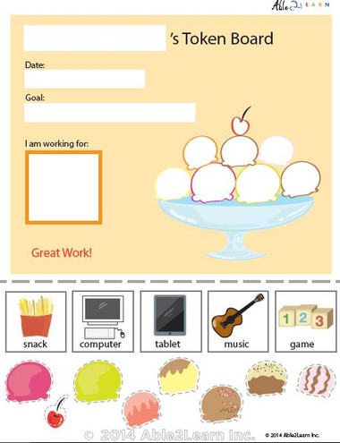Token Board Food Ice Cream 8 Tokens Able2learn Inc