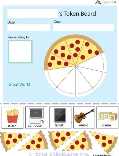 Token Board Food Pizza 5 Tokens Able2learn Inc