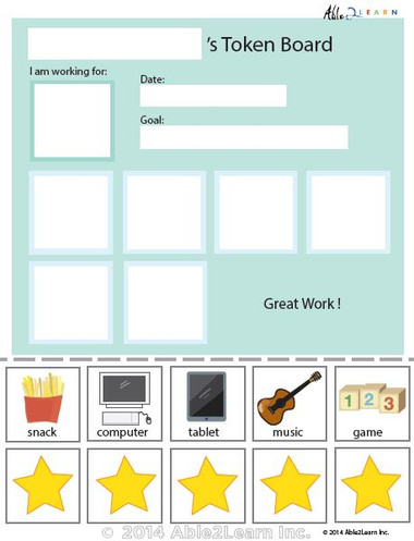 Token Board Simple Stars 5 Tokens Able2learn Inc