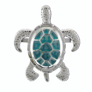 SS Rhodium Sea Turtle Multi - Green