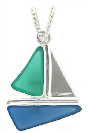 Sterling silver sailboat pendant accented with blue & green sea glass.