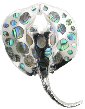 Sterling Silver with Abalone sting ray pendant.