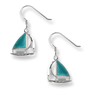 Sterling Silver Wire Sailboat earrings in Turquoise.