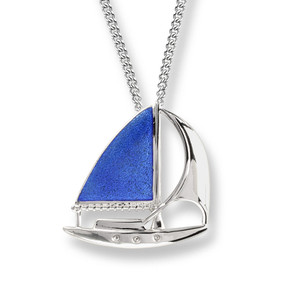 Sterling Silver Sailboat Necklace in Blue.