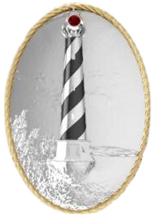 Multi Function lighthouse design in Sterling Silver and 14k Vermeil. Can be worn on your Double Hook bracelet or as a pendant. This piece is 1 inch wide x 1.5 inches high.