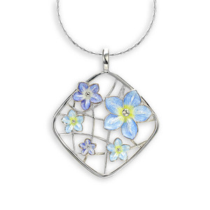 "Sterling Silver ""Forget me Not"" Cluster Necklace"