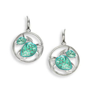 Sterling Silver Mother & Baby Sea Turtles Earrings