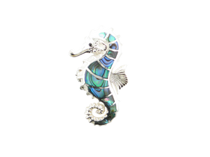 Sterling Silver Abalone Seahorse Pendant