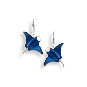 Sterling Silver Blue Manta Ray Wire Earrings
