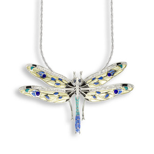 SS D'fly Necklace W/Blue & White Sapphires