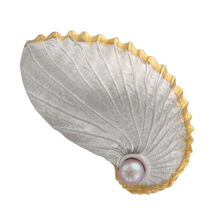 Paper Shell Nautilus Multi Function Setting w/pearl - Sterling Silver w/24k vermeil accent