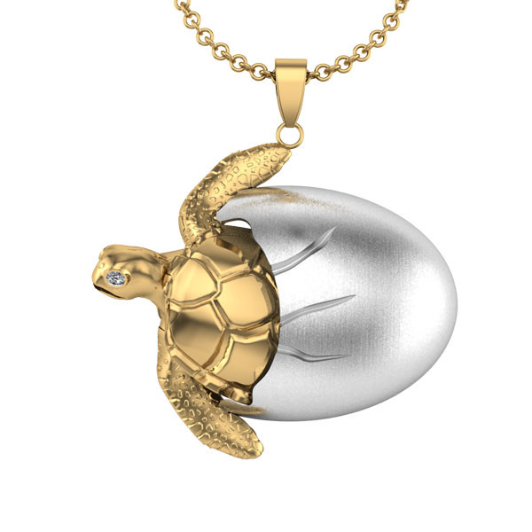 Topsail Turtle Hatching Pendant - 14K Gold & Sterling Silver