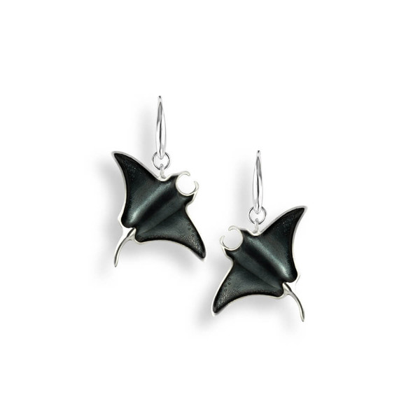 Sterling Silver Manta Ray Wire Earrings