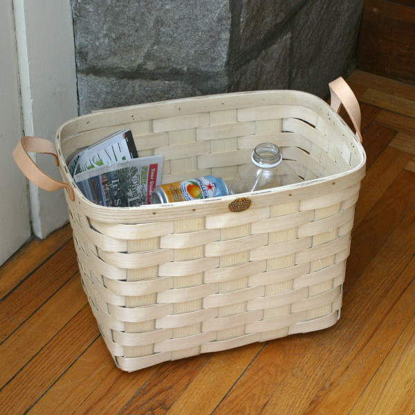 Peterboro Recycle Storage Basket with Leather Handles