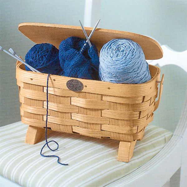 Peterboro Small Knitting Basket with Lid