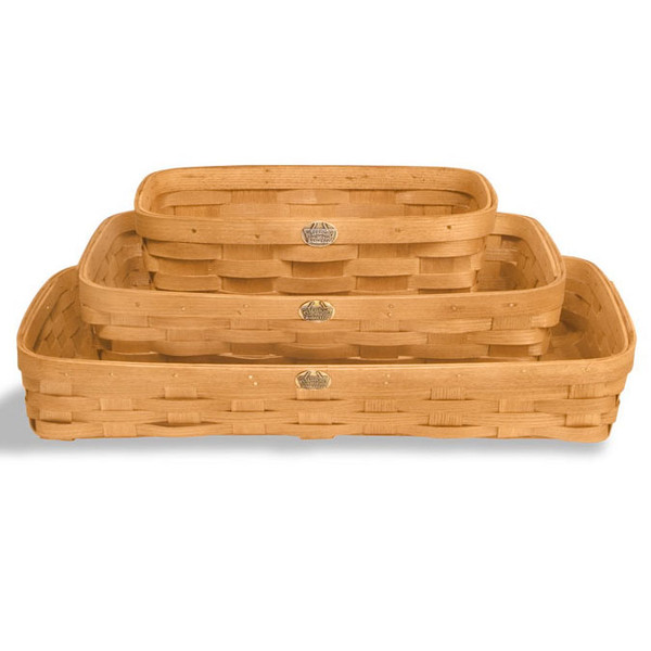 Peterboro Set of Three Everyday-Use Flat Storage Baskets