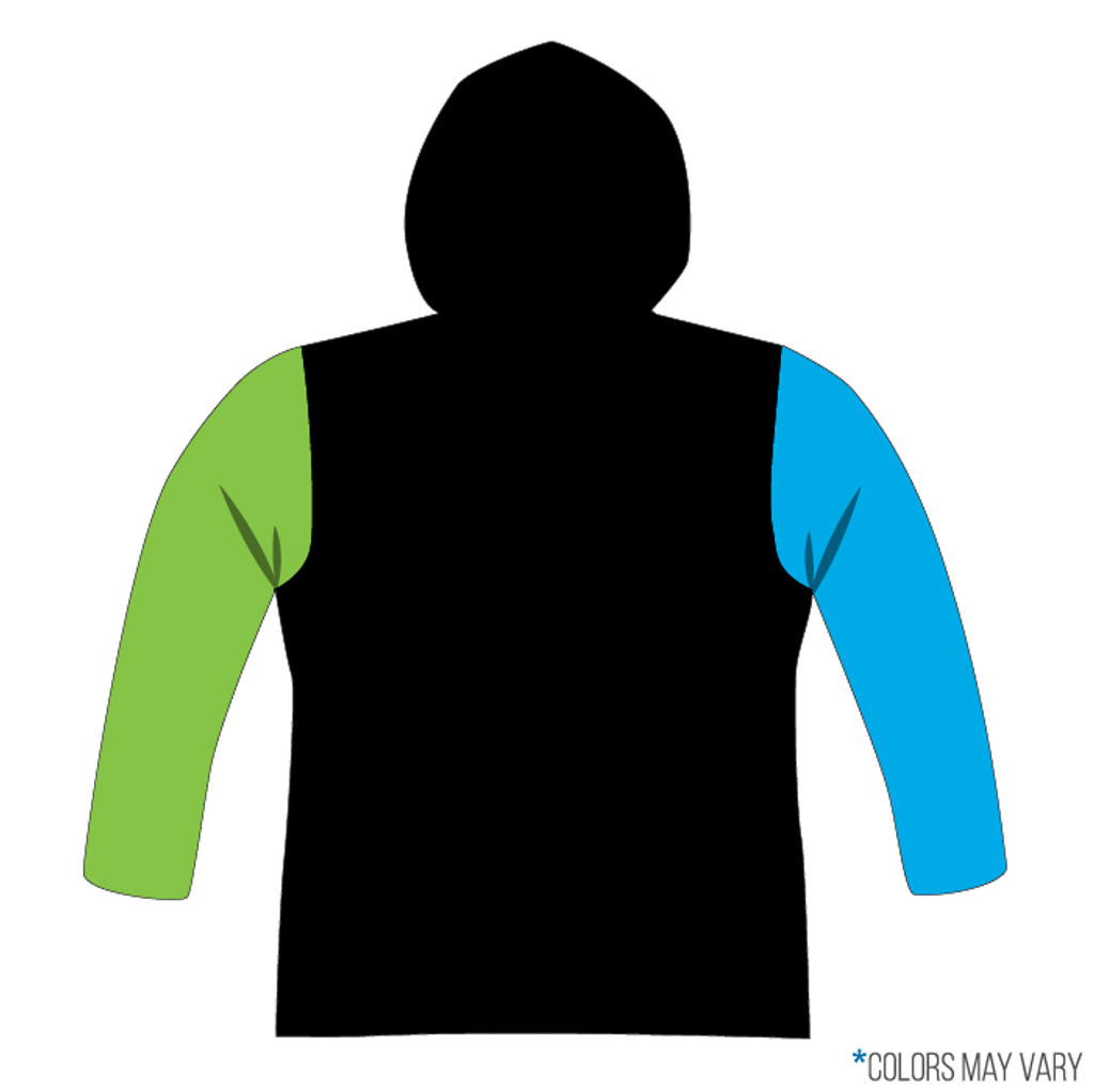 Breakmark Front Panel Long Sleeve Hood Back Dark with Electric Blue Sleeve, Lime Sleeve, Black Back and Black Hood