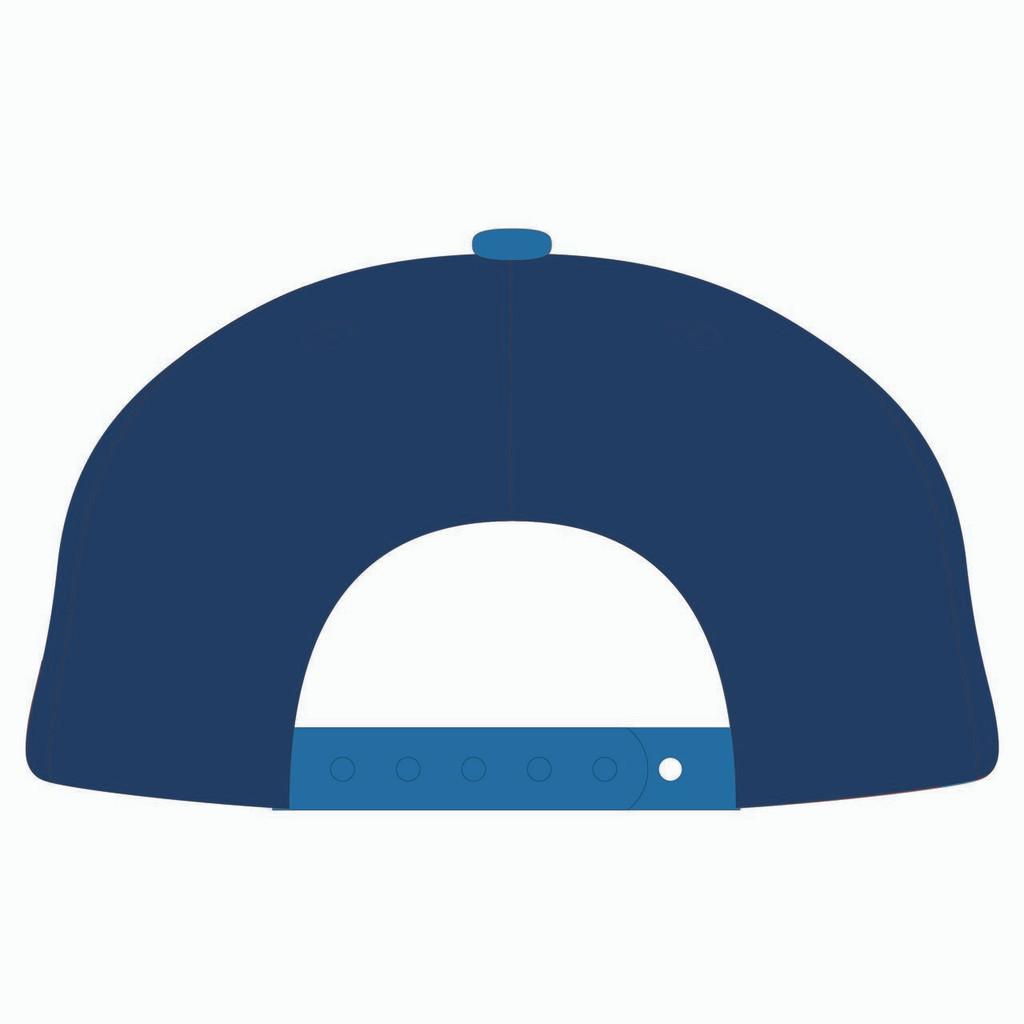 Back of blue baseball hat.