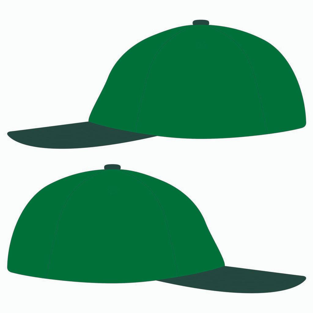 Sides of green baseball hat.