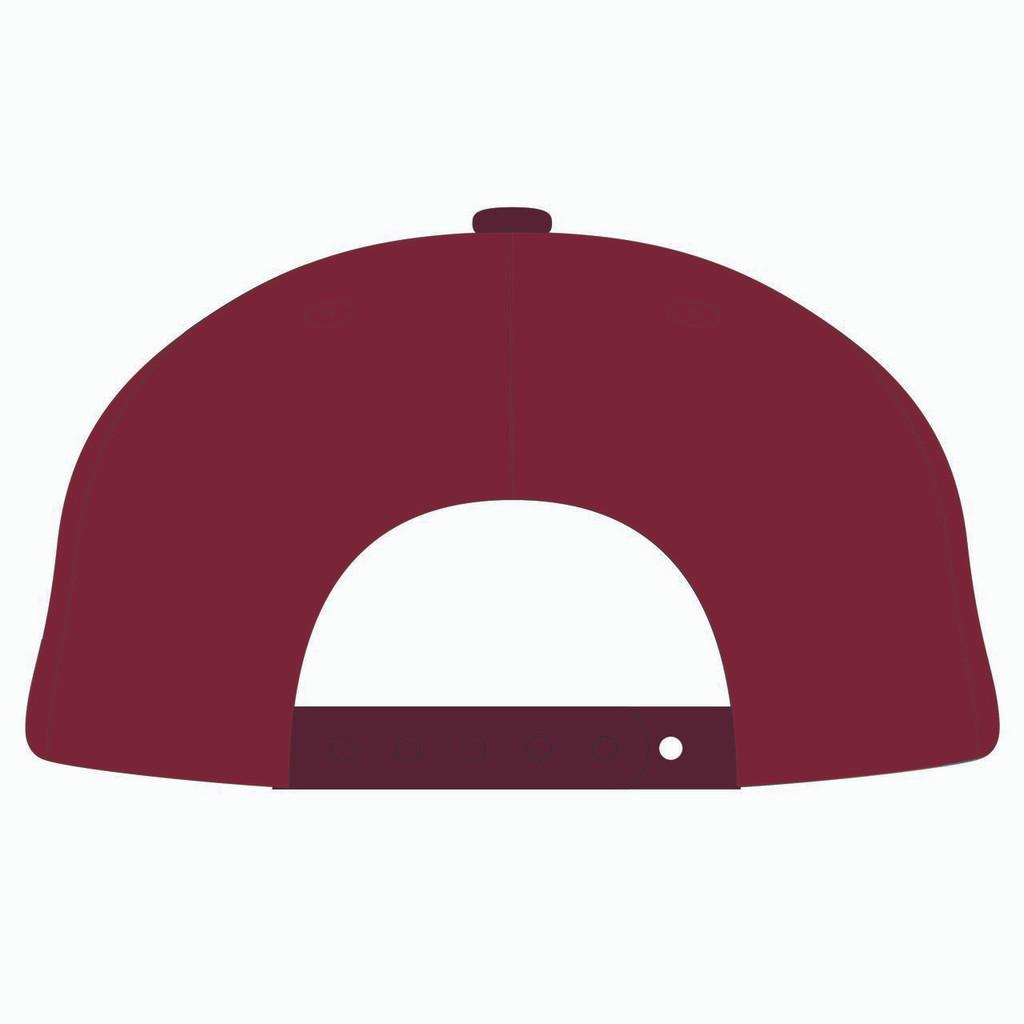 Back of red baseball hat.