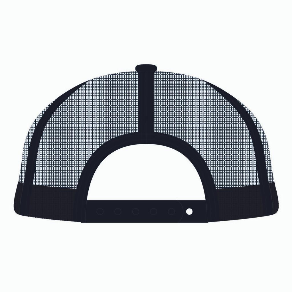 Back view of black trucker hat.