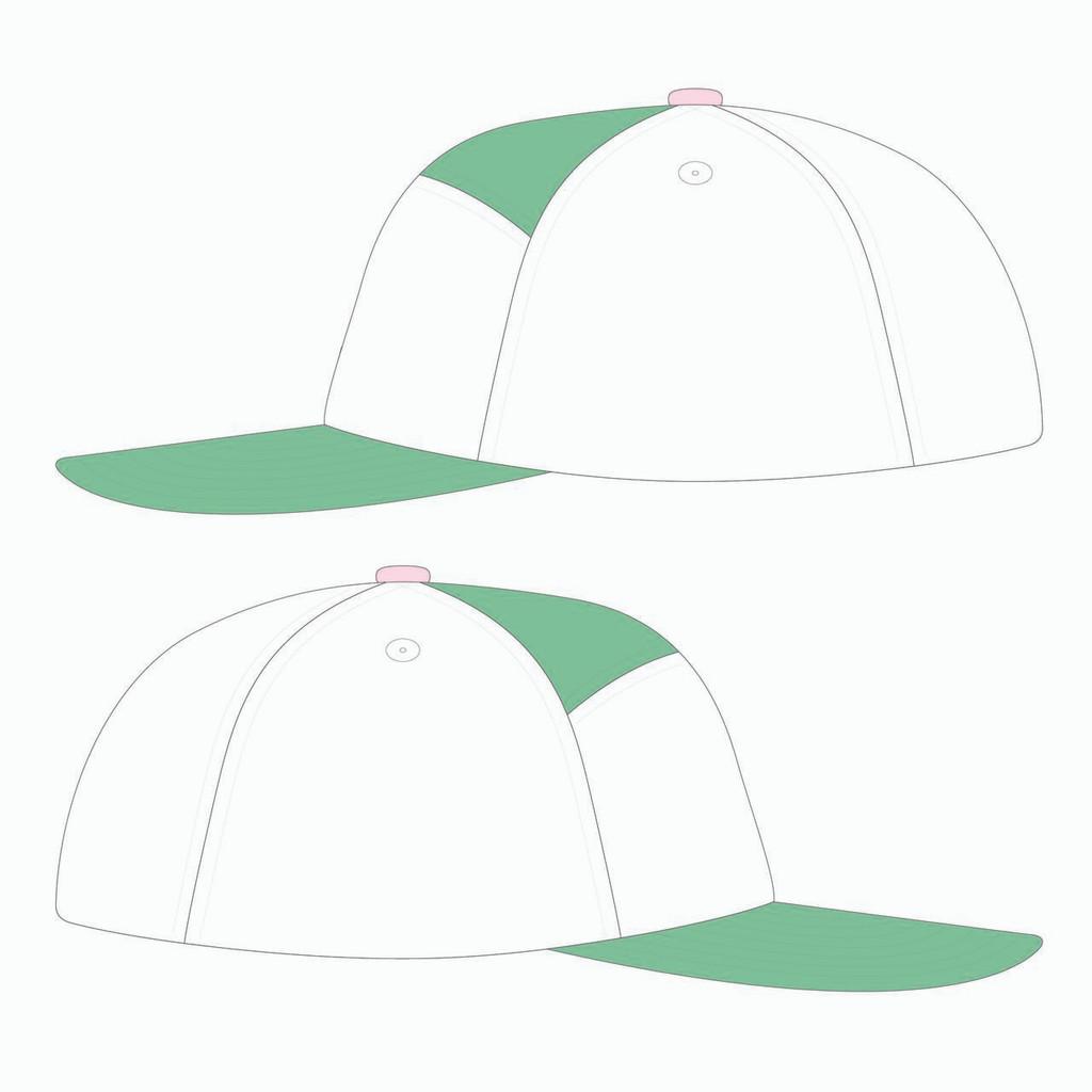 Side view of seafoam/white/seamfoam tradesman hat.