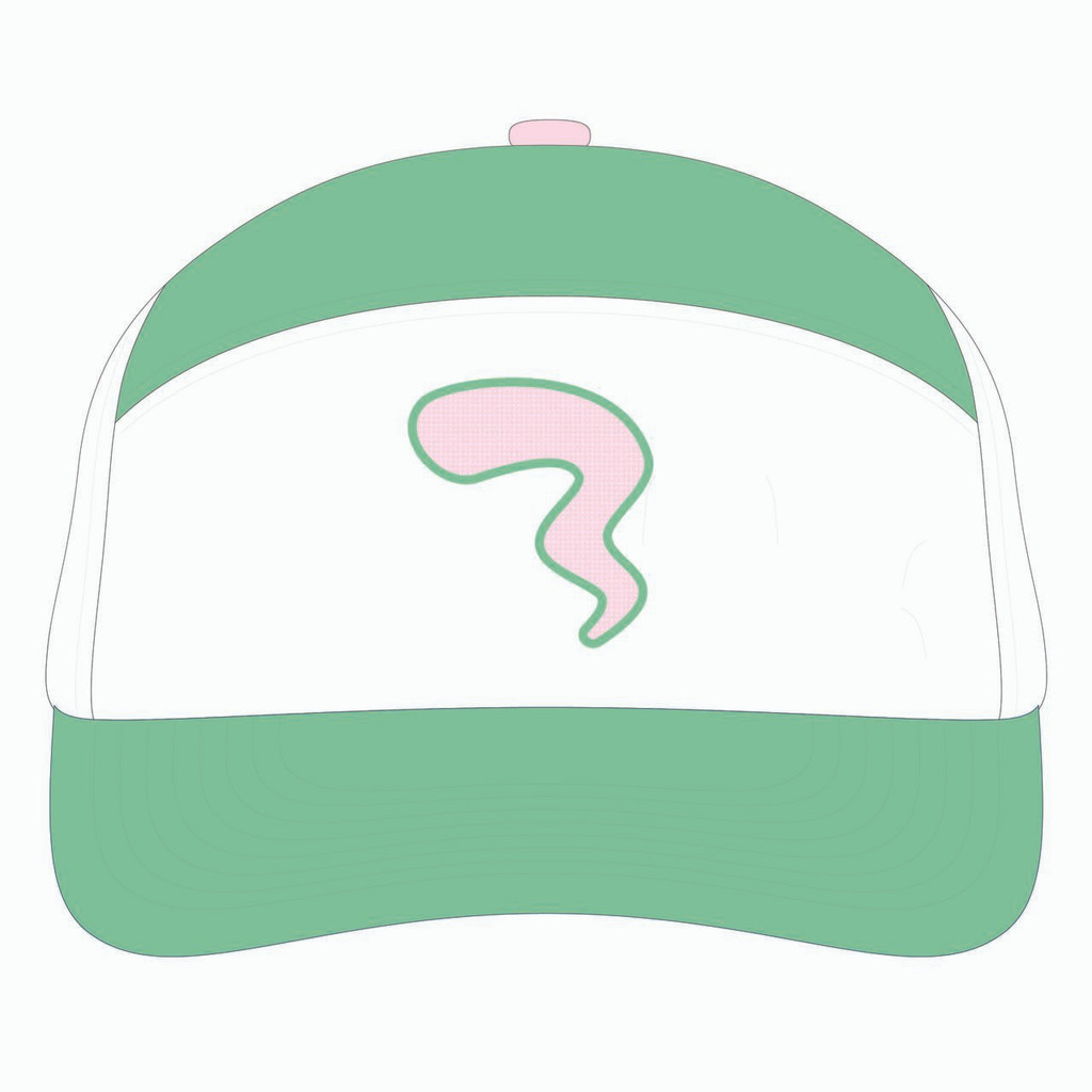 Front view of seafoam/white/seamfoam tradesman hat.