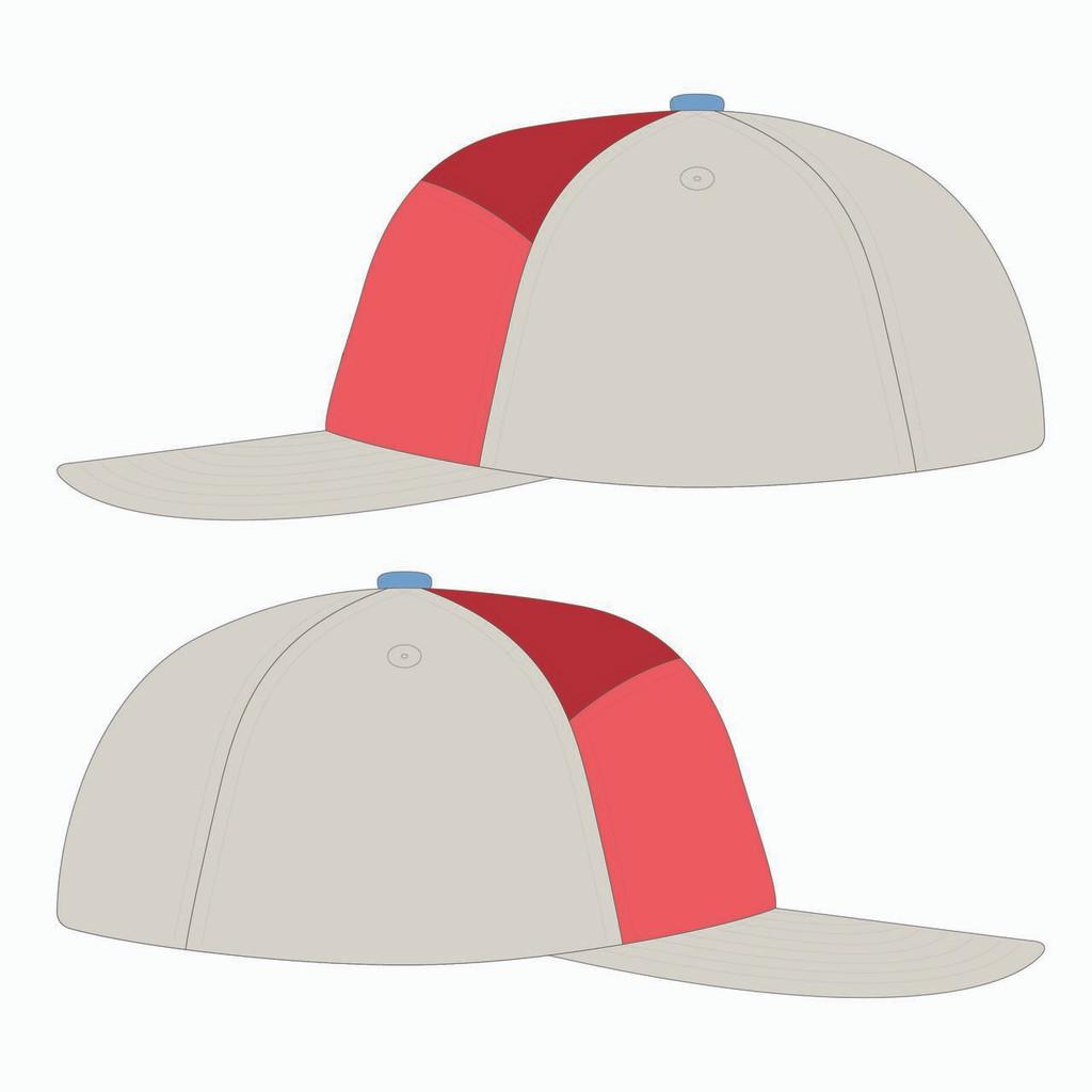 Side view of stone/nantucket/scarlet tradesman hat.