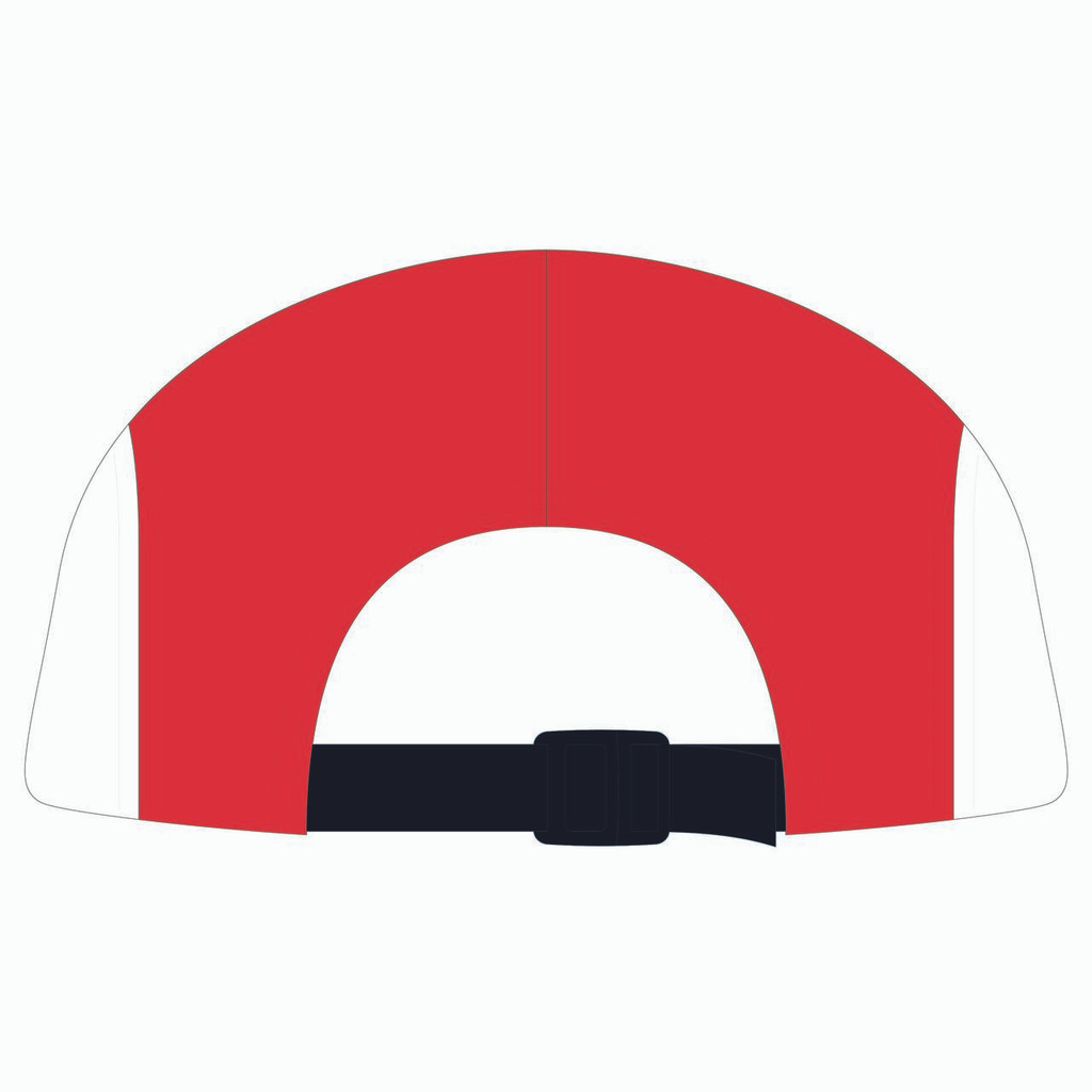Back view of blue/white/red 5 panel lightweight hat.