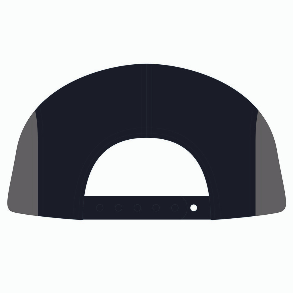 Back view of nantucket/black/charcoal 5 panel sublimated underbrim hat