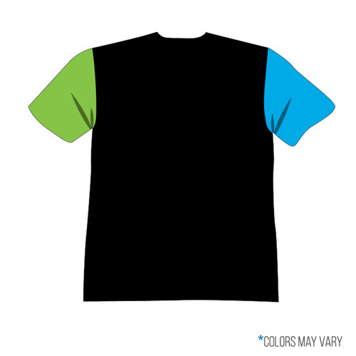 Breakmark Front Panel Short Sleeve Back Dark with Electric Blue Sleeve, Lime Sleeve, Black Back and Black Collar