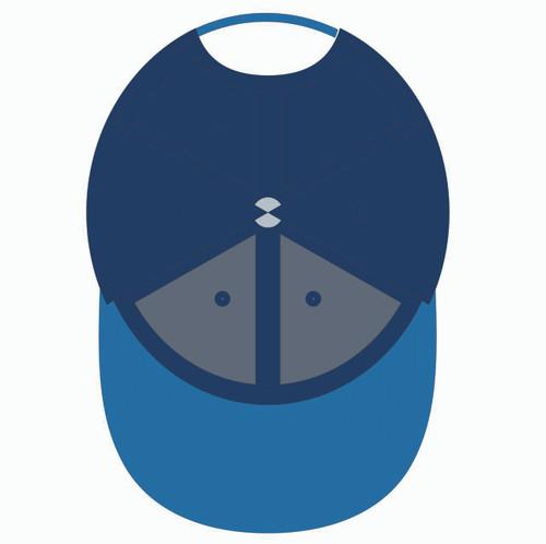 Underneath of blue baseball hat.