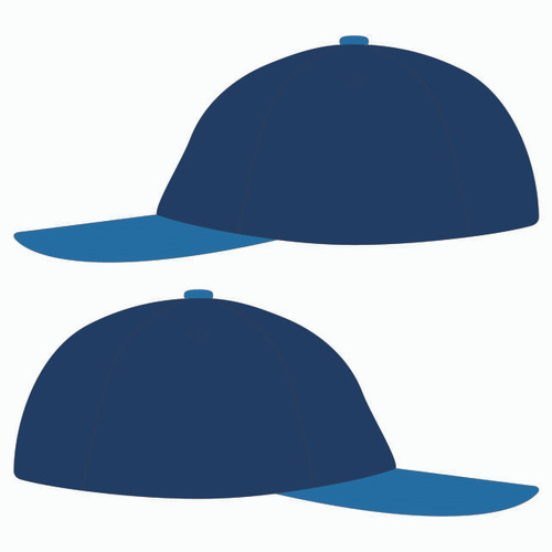 Sides of blue baseball hat.
