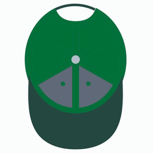 Underneath of green baseball hat.