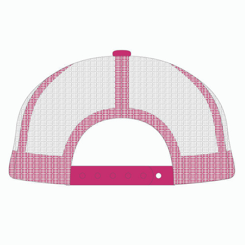 Back view of pink/white trucker hat.