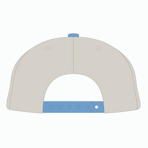Back view of stone/nantucket/scarlet tradesman hat.
