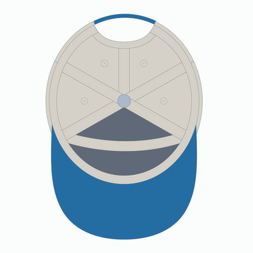 Underneath view of blue/gold/orange tradesman hat.