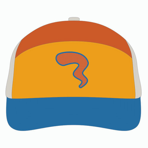 Front view of blue/gold/orange tradesman hat.