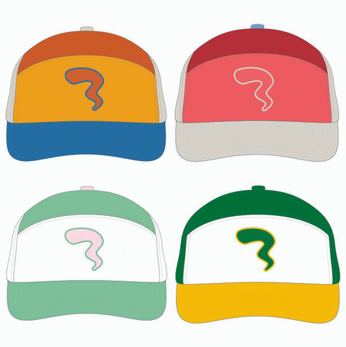 View of all four tradesman hats.