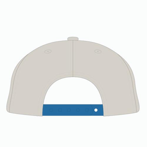 Back view of blue/gold/orange tradesman hat.