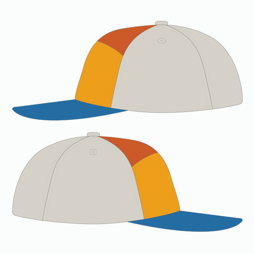 Side view of blue/gold/orange tradesman hat.