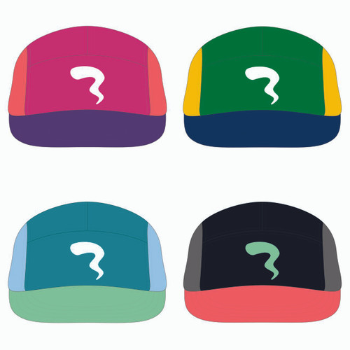 View of all four 5 panel sublimated underbrim hats