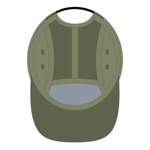 Underneath view of surplus/olive 5 panel top panel sublimated hat.