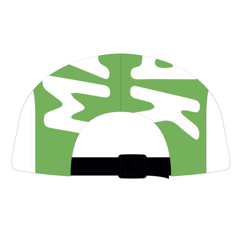 Back view of kiwi/white 5 panel top panel sublimated hat.