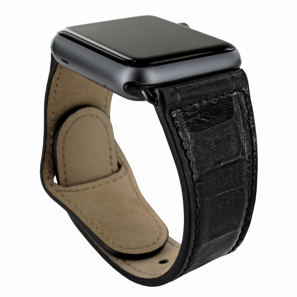 Piel Frama Apple Watch 38 mm Leather Strap - Black Cowskin-Crocodile / Black Adapter