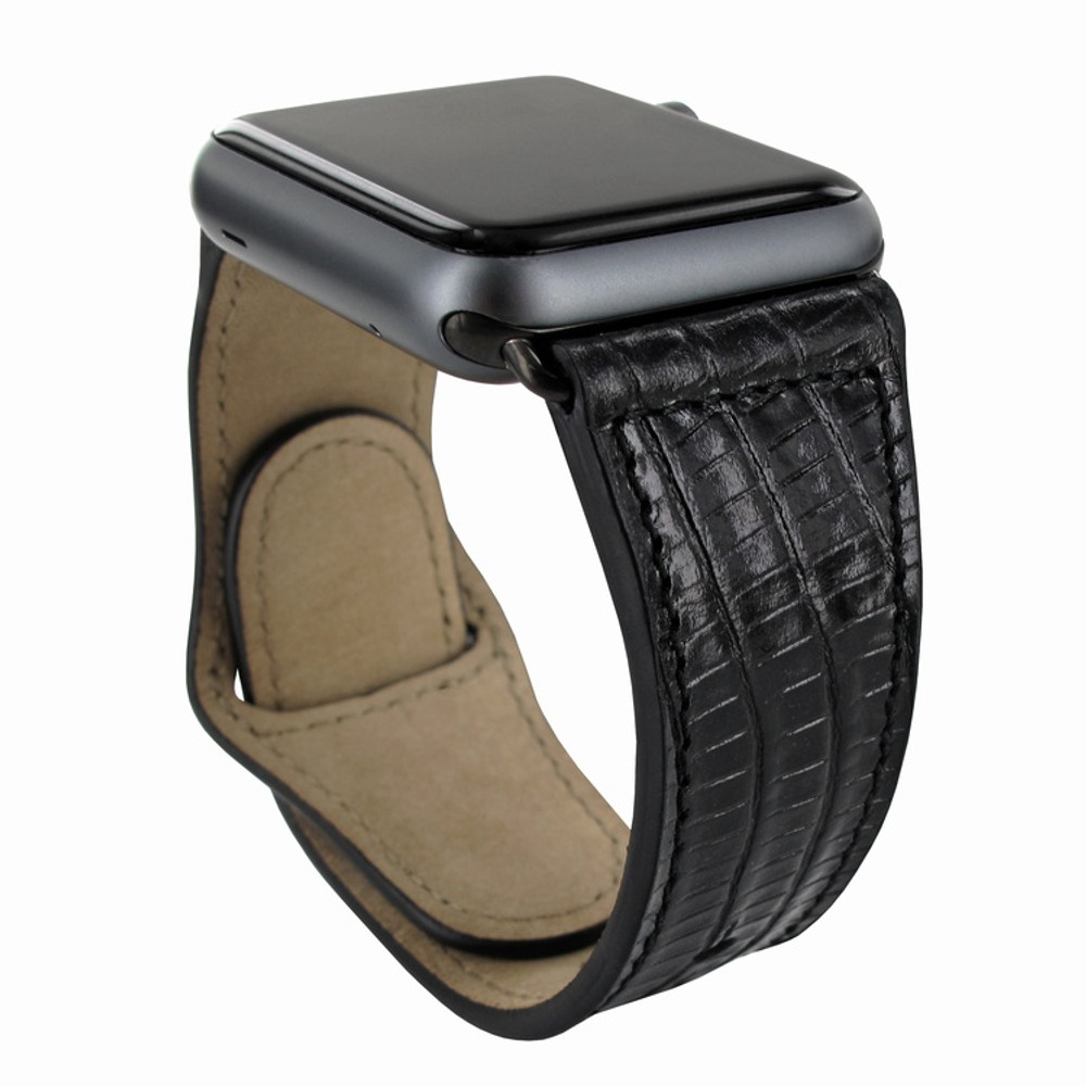 Piel Frama Apple Watch 38 mm Leather Strap - Black Cowskin-Lizard / Black Adapter