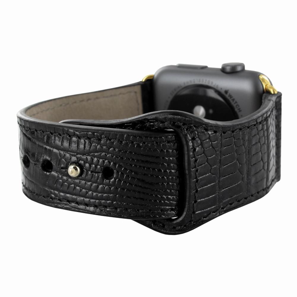 Piel Frama Apple Watch 38 mm Leather Strap - Black Cowskin-Lizard / Gold Adapter