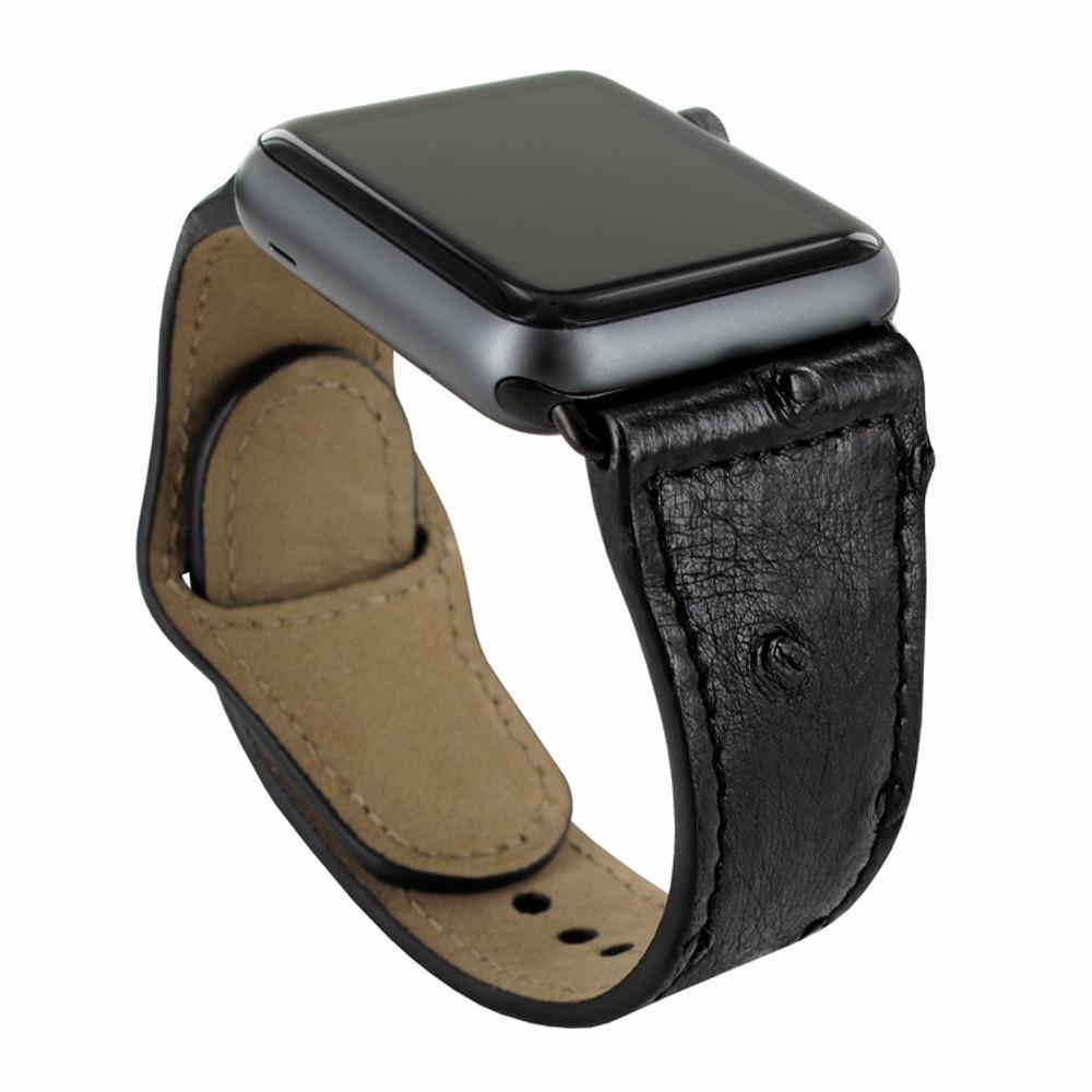 Piel Frama Apple Watch 38 mm Leather Strap - Black Cowskin-Ostrich / Black Adapter
